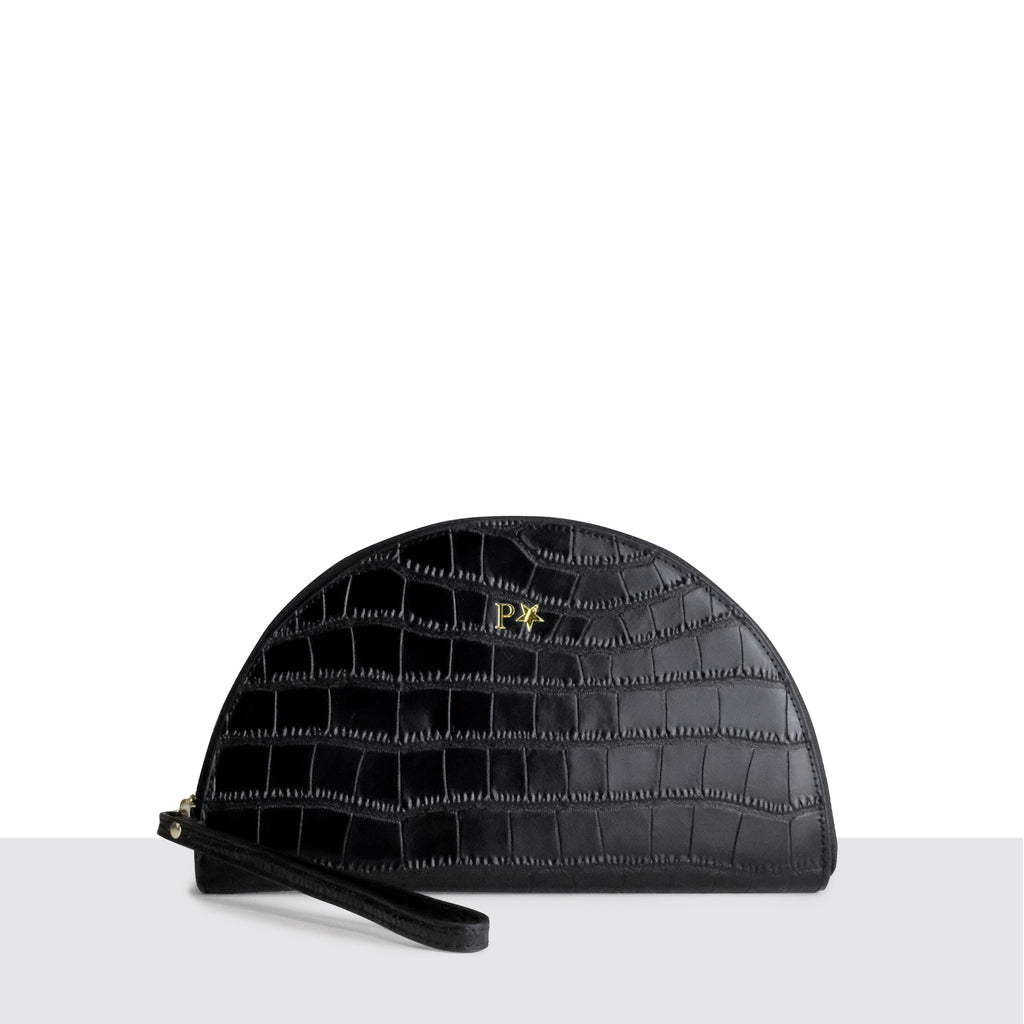 Cartagena Clutch in Black Croc