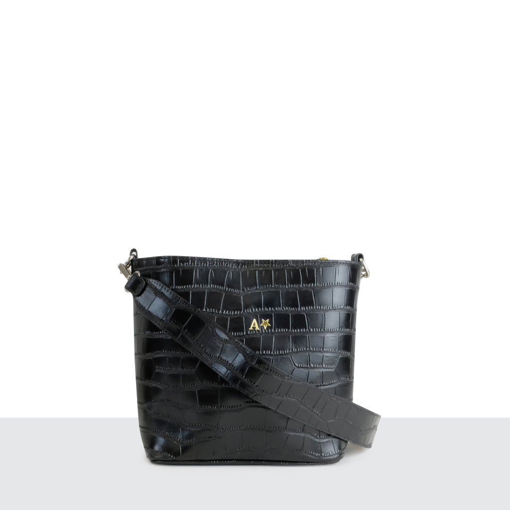Black Croc Multi-way Cross Body Bag