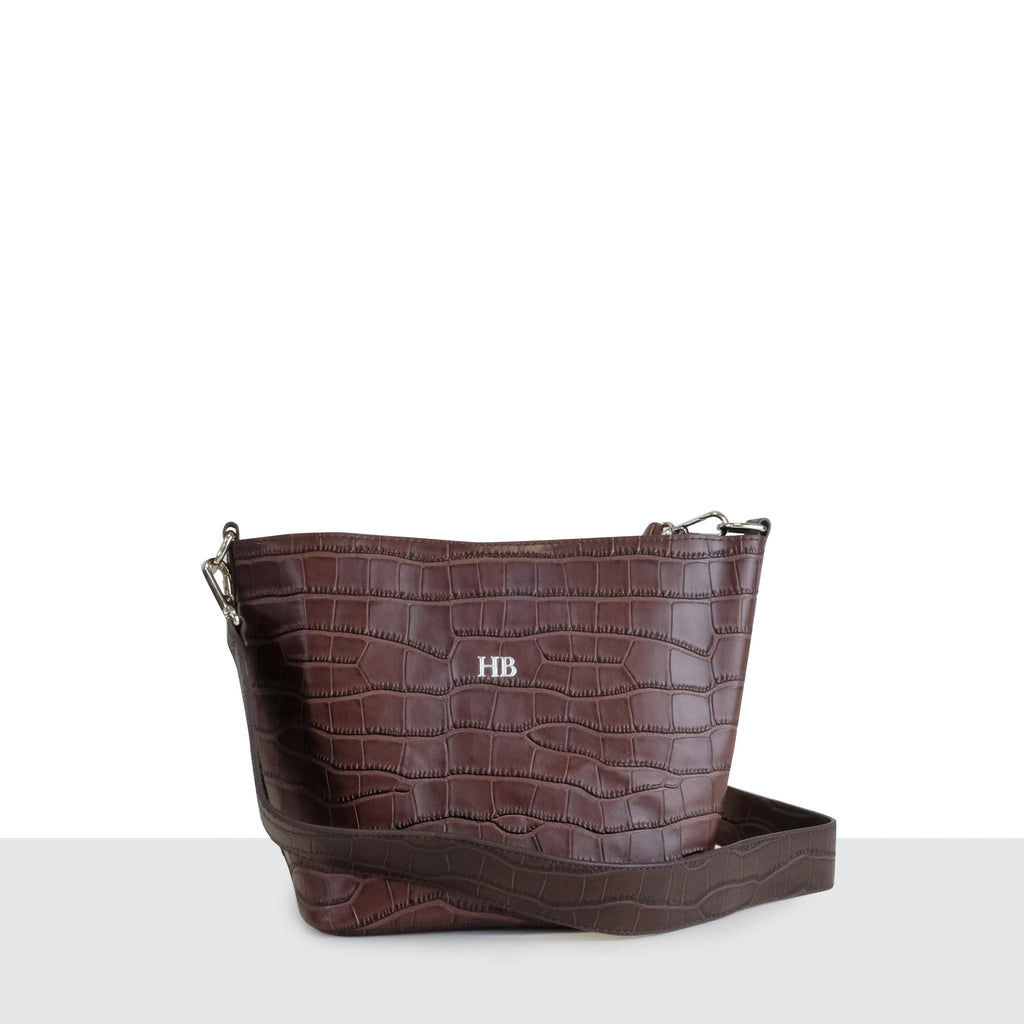 Chocolate Brown Croc Multi-way Cross Body Bag