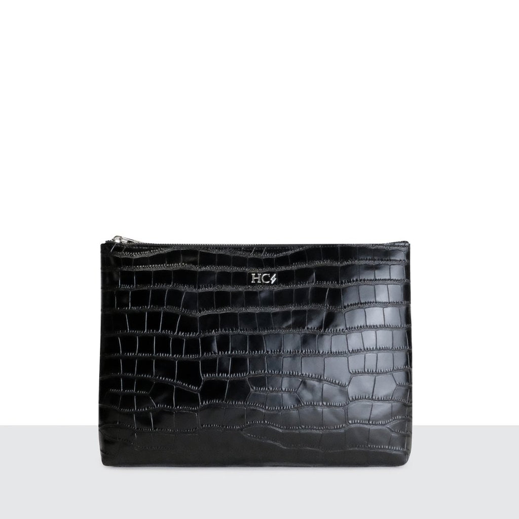 Black Croc Oversized Clutch