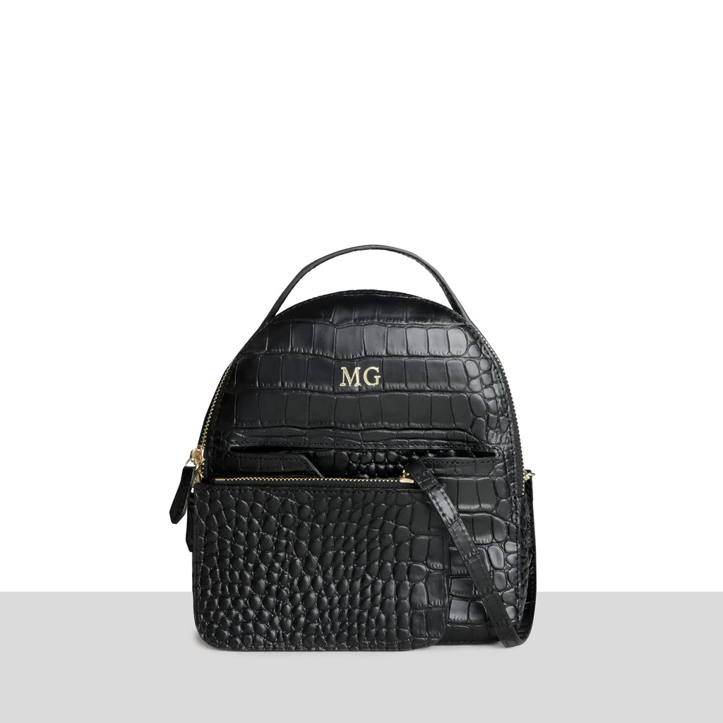 Black Croc Mini Backpack