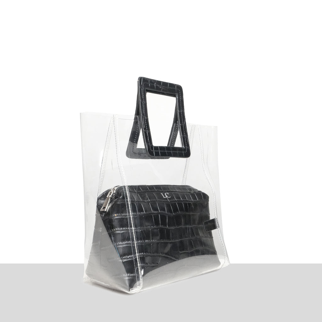 Brisbane Tote in Black Croc