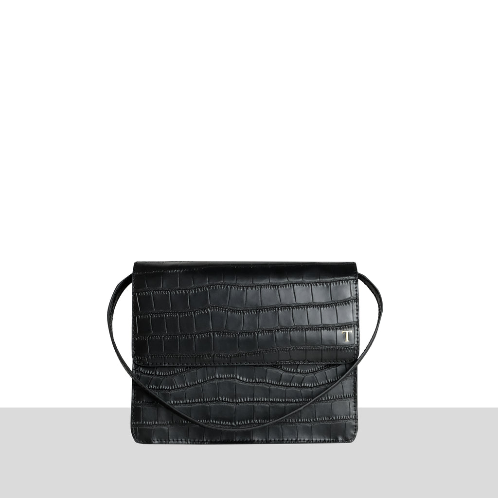 Black Croc Structured Cross Body Bag