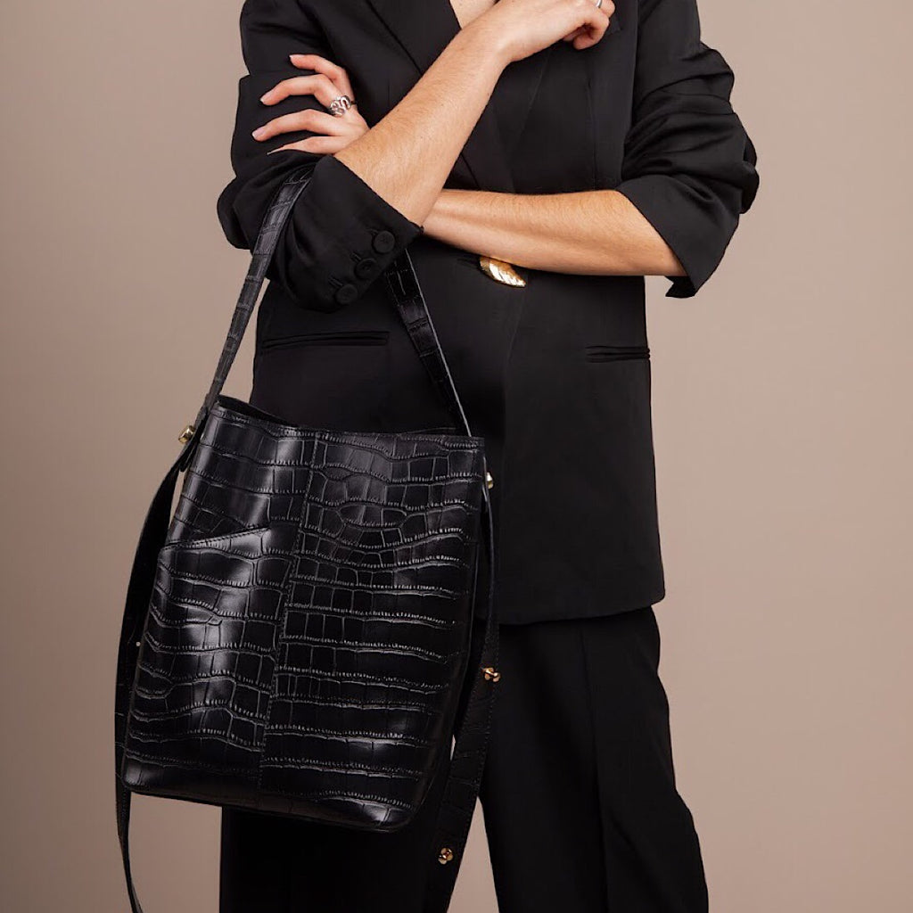 Black Croc Midi Shoulder Bag