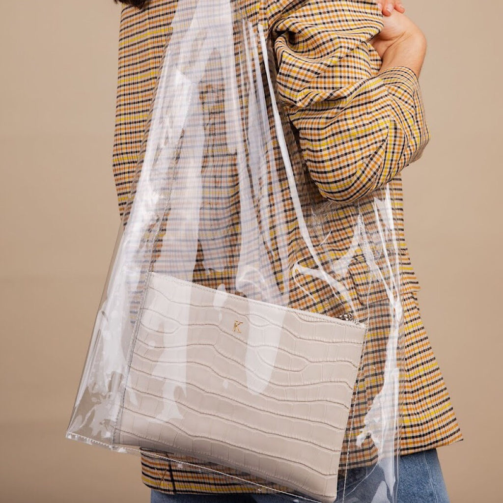 Perspex Shopper with Cream Croc Pouch