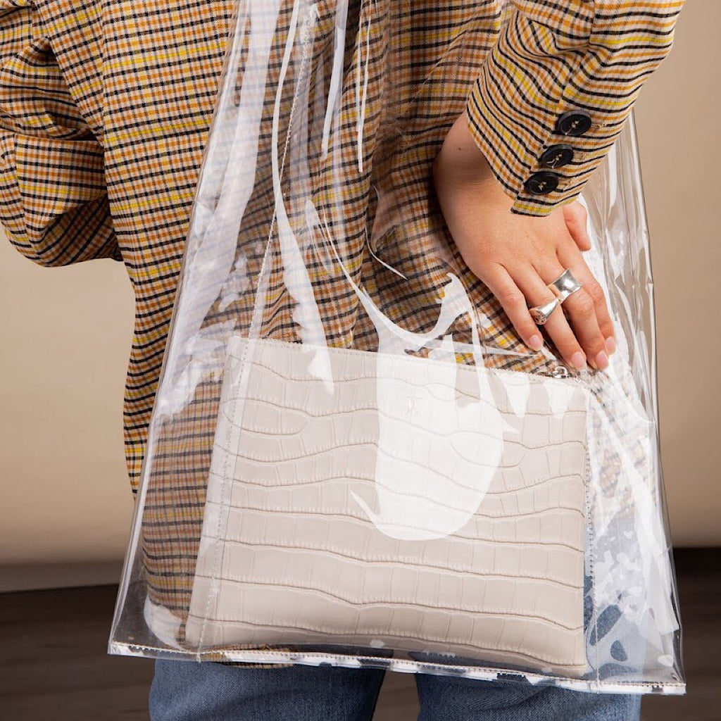 Cream Croc Perspex Shopper