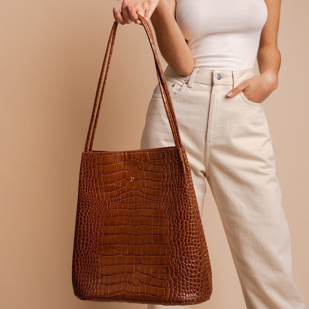 Tan Croc Minimal Tote Bag