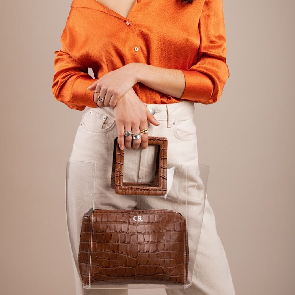 Brisbane Tote in Tan Croc