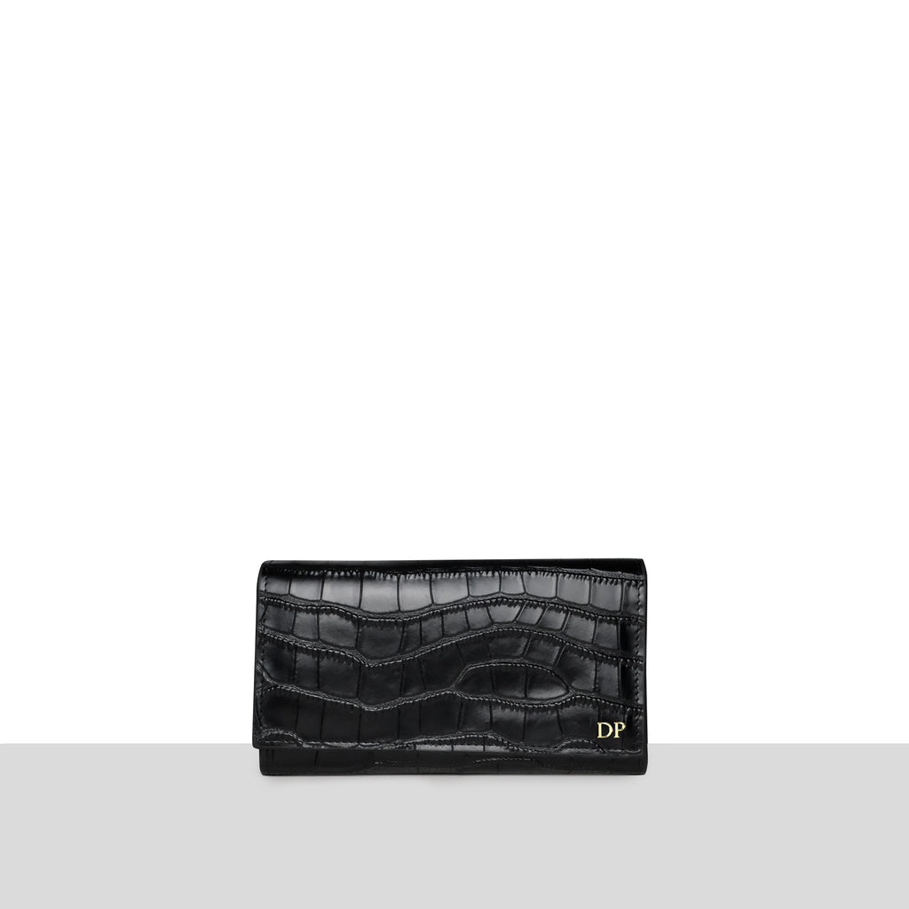 Sentier Wallet in Black Croc