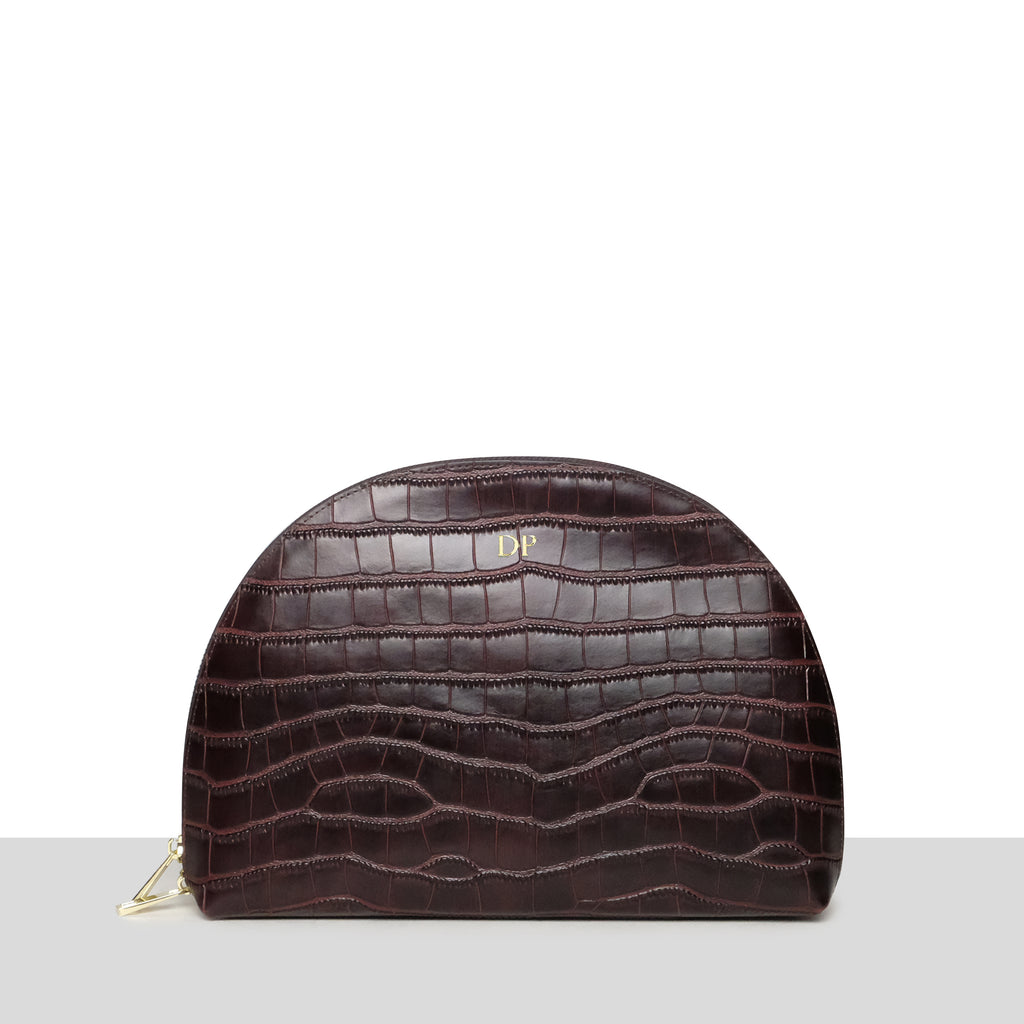 Chocolate Brown Croc Moon Clutch