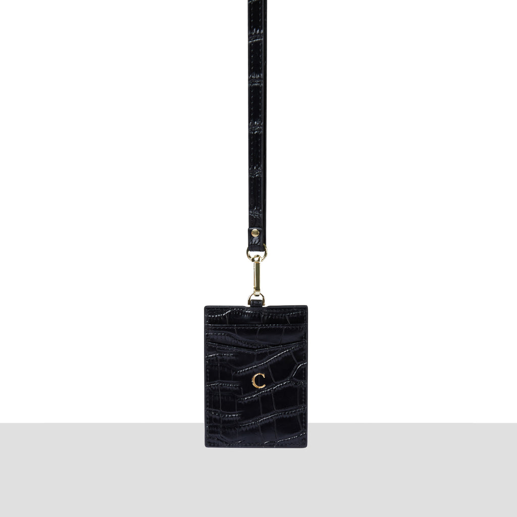 Black Croc Card Holder Lanyard