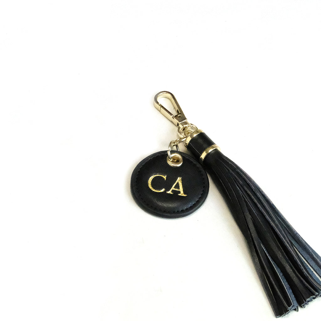 Black Smooth Tassel Keyring
