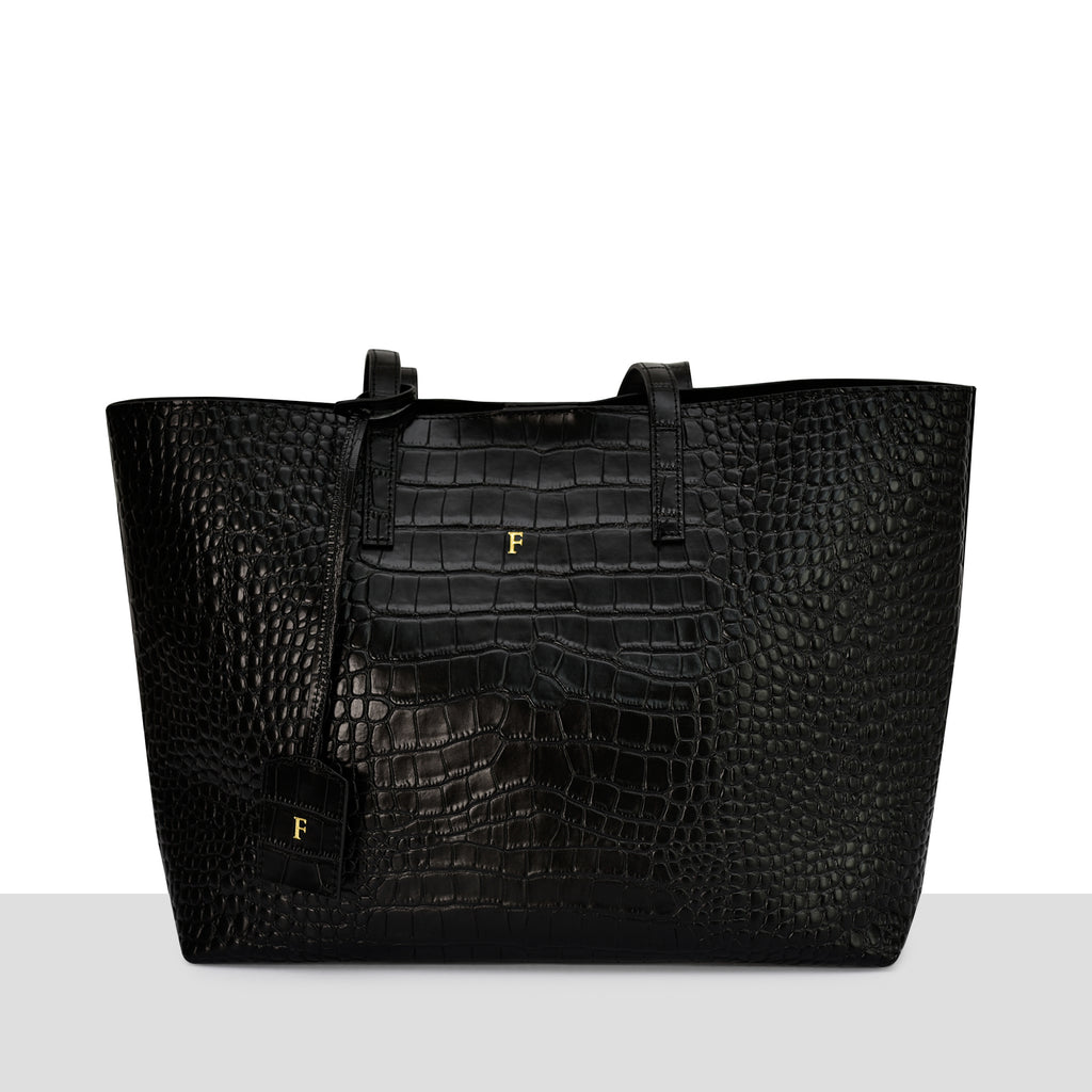 Stockholm Tote in New Black Croc