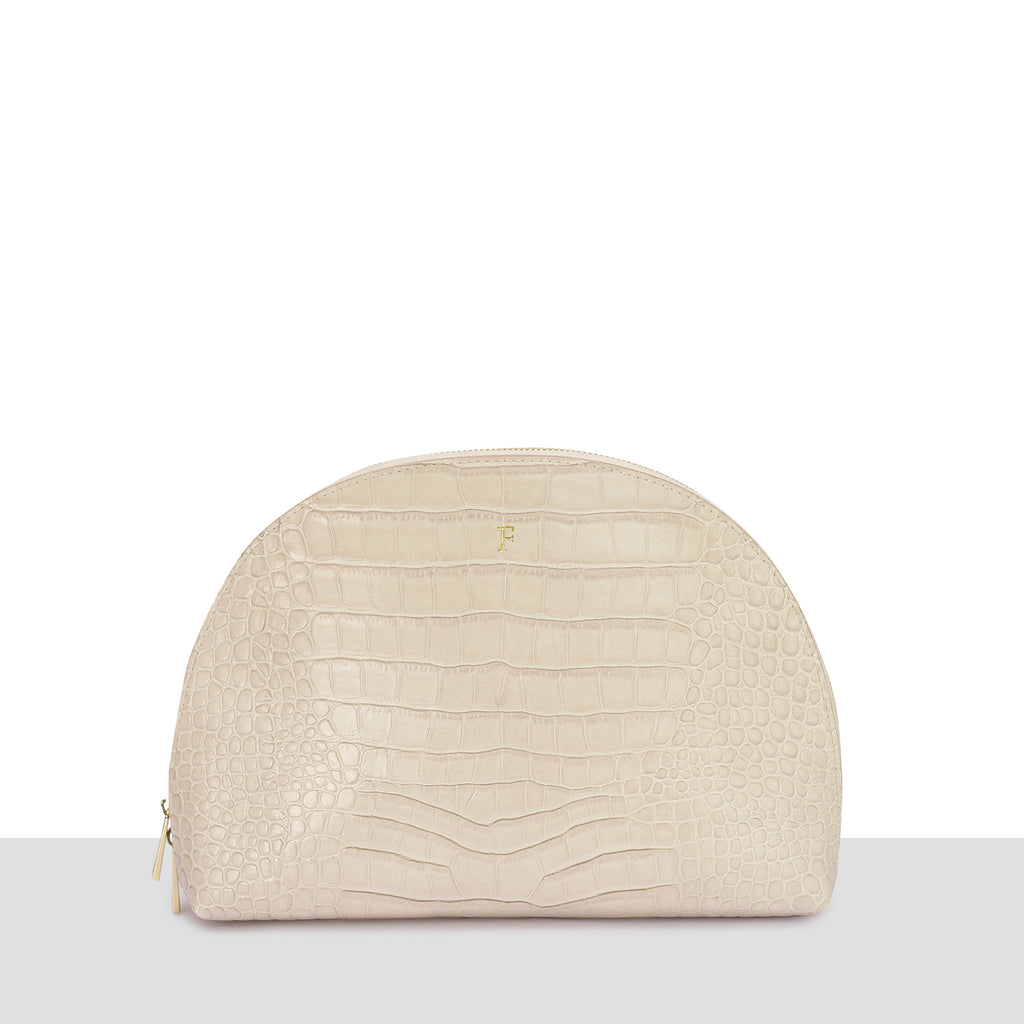 Cream Croc Moon Clutch