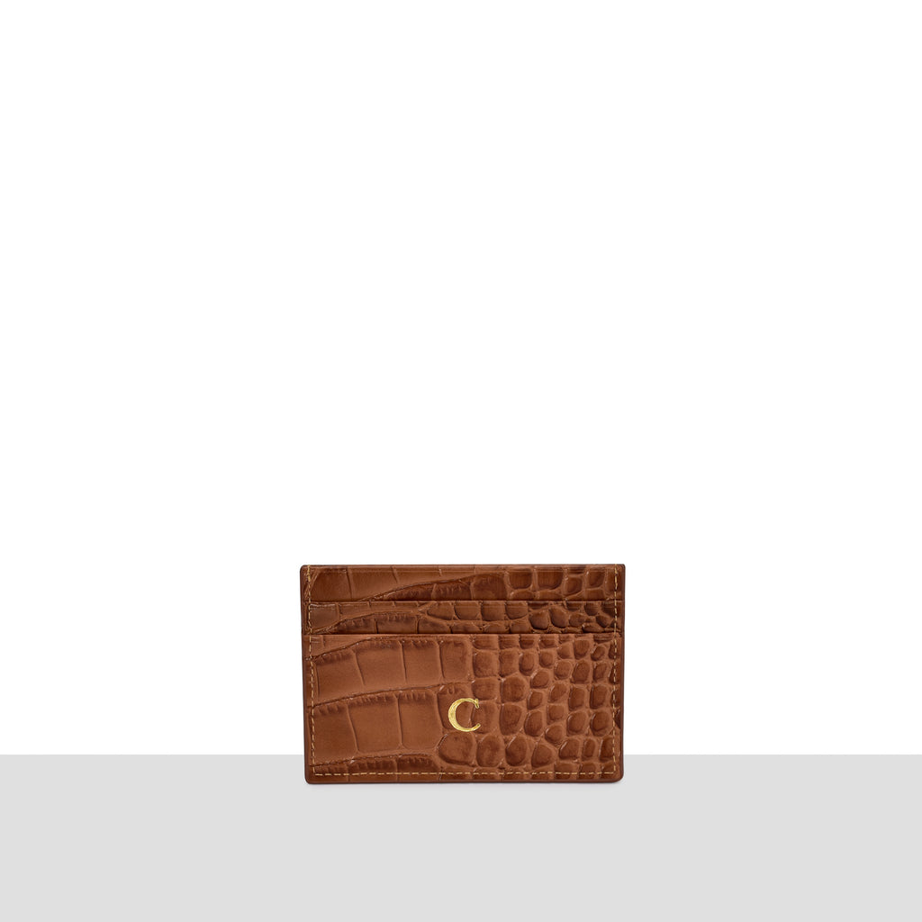 Tan New Croc Cardholder