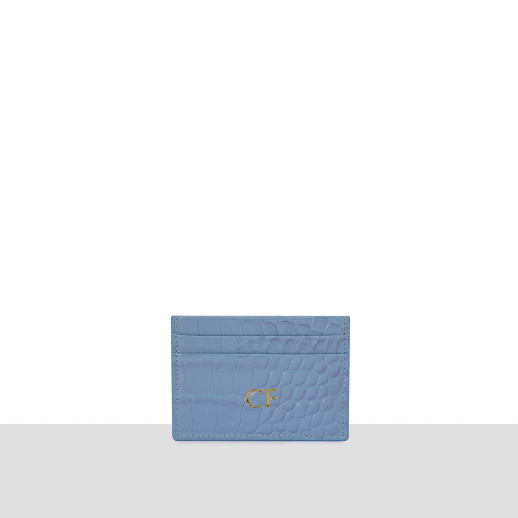Powder Blue Croc Cardholder