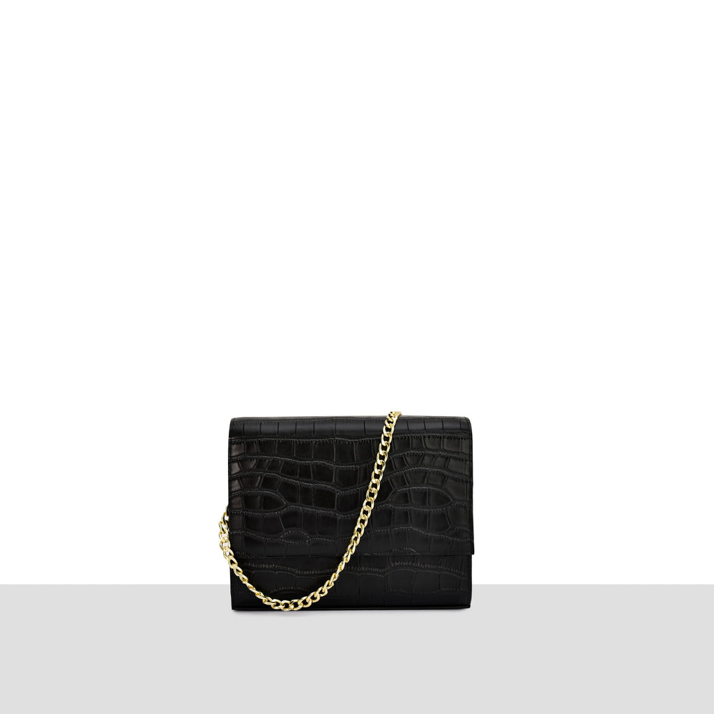 Shanghai Bag in Black Croc