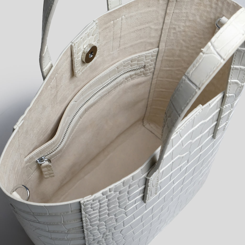 Cream Croc Cross Body Shopper