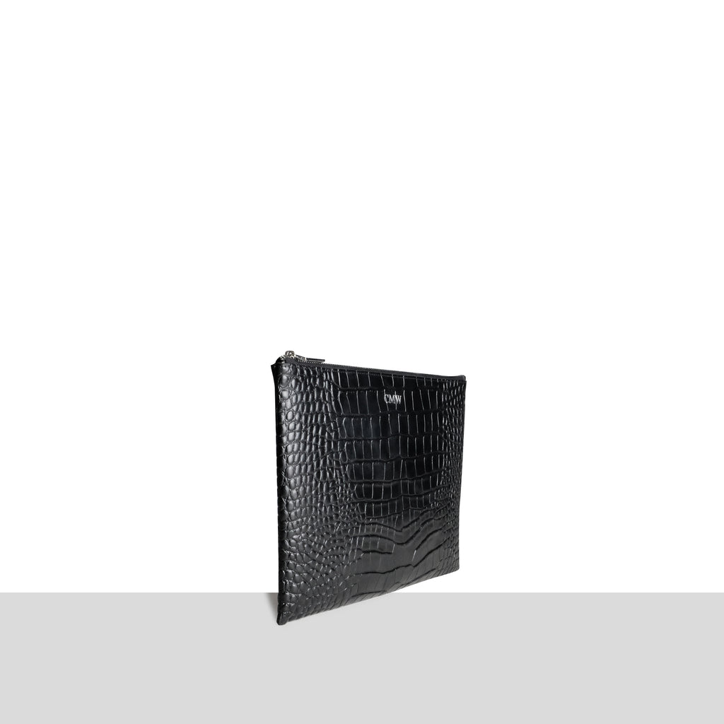 Black Croc iPad Pouch