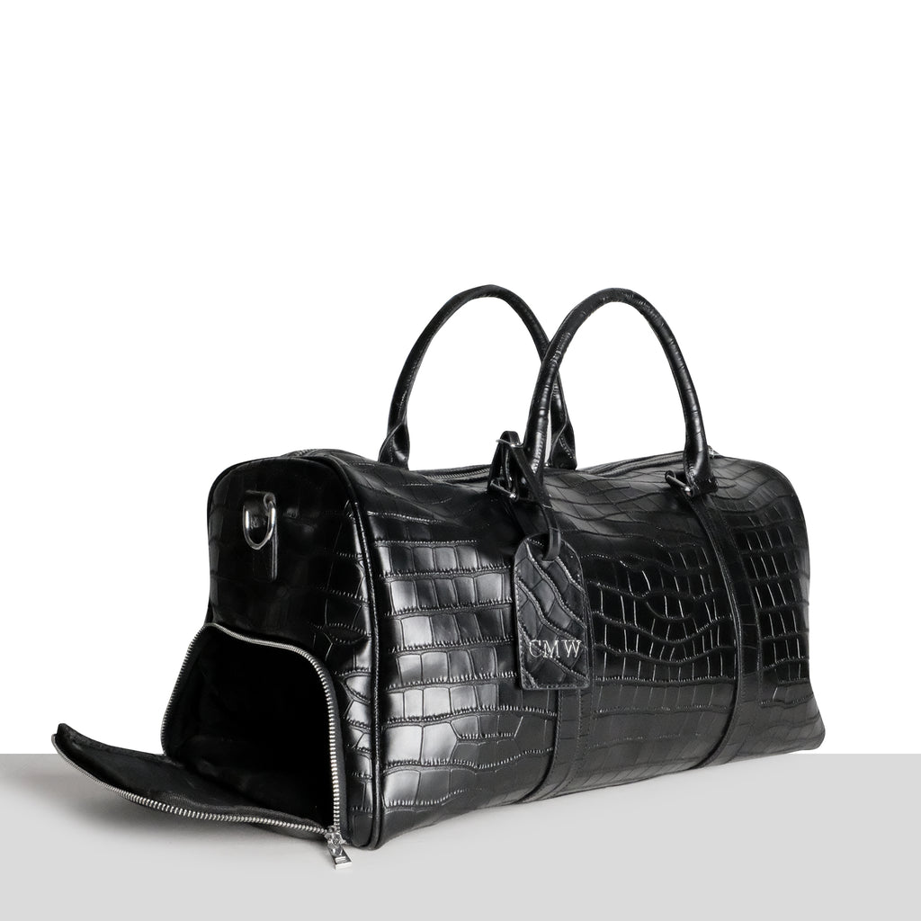 Amsterdam Weekend Bag in Black Croc