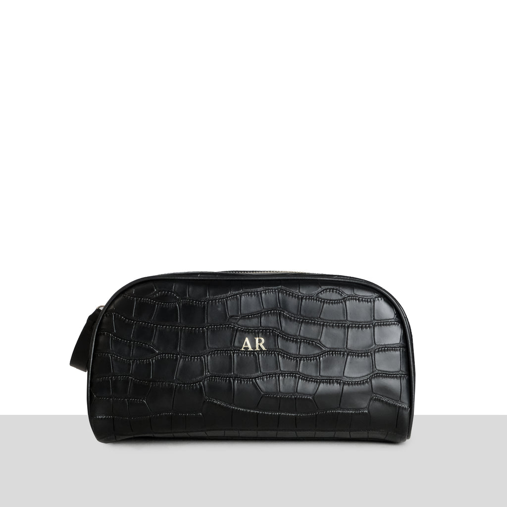Black Croc Toiletry Bag