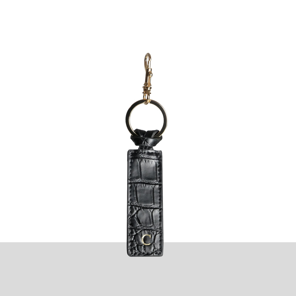 Black Croc Gold Keychain