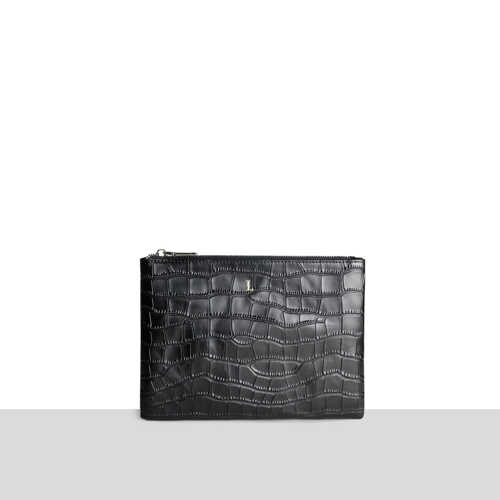 Perspex Shopper with Black Croc Pouch