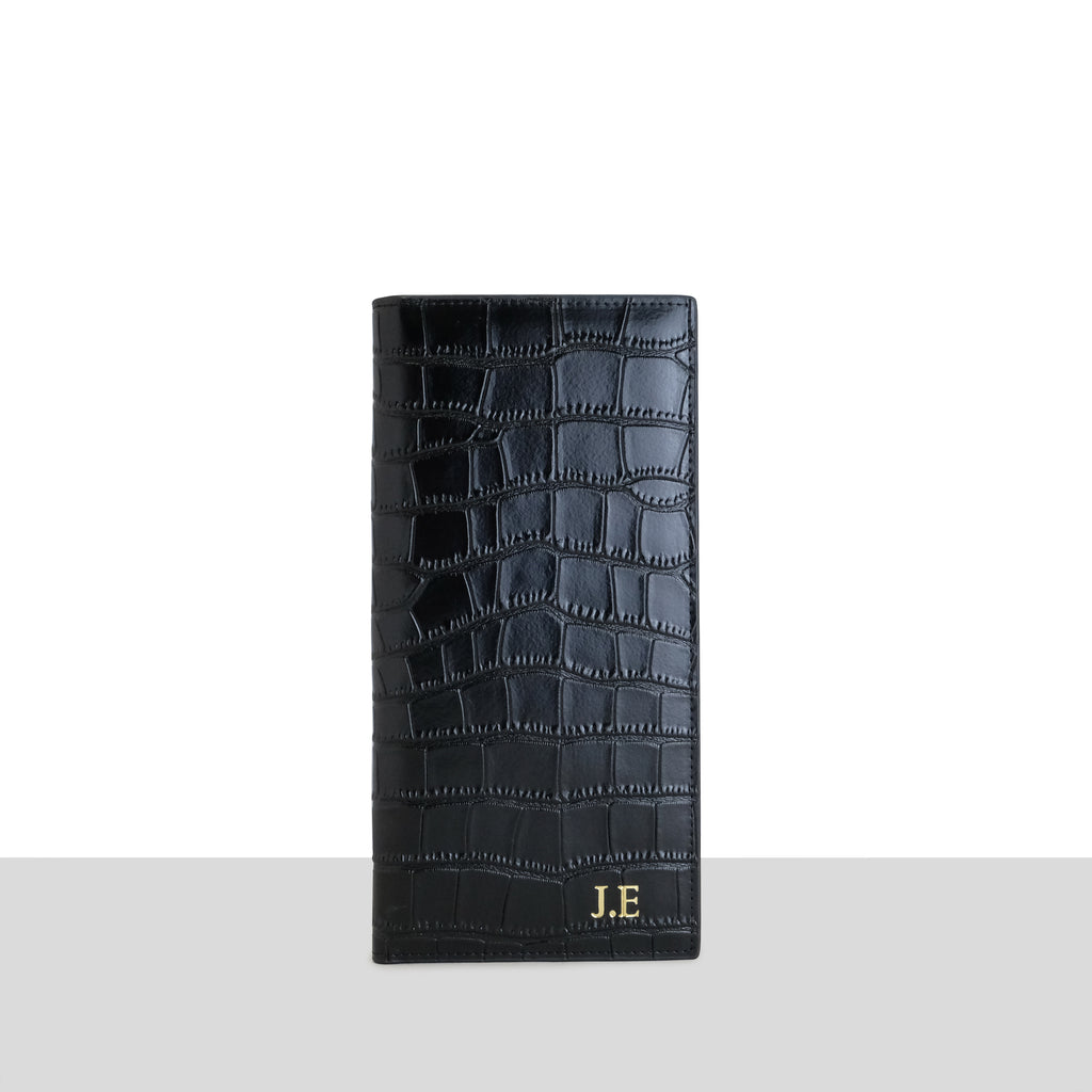 Black Croc Travel Wallet