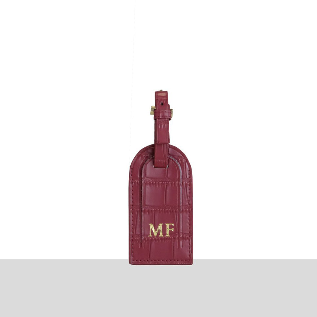 Wine Matte Croc Luggage Tag