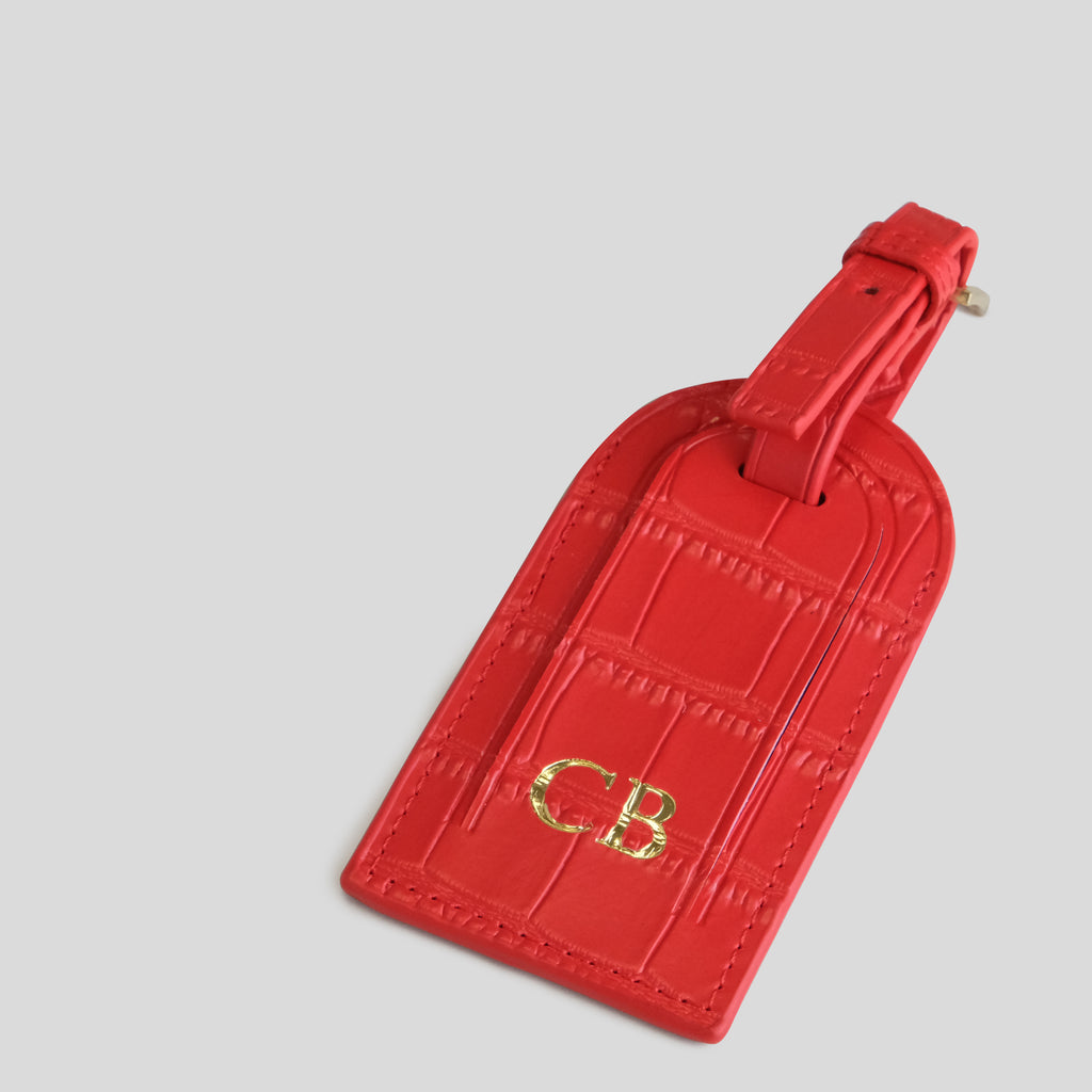 Red Matte Croc Luggage Tag