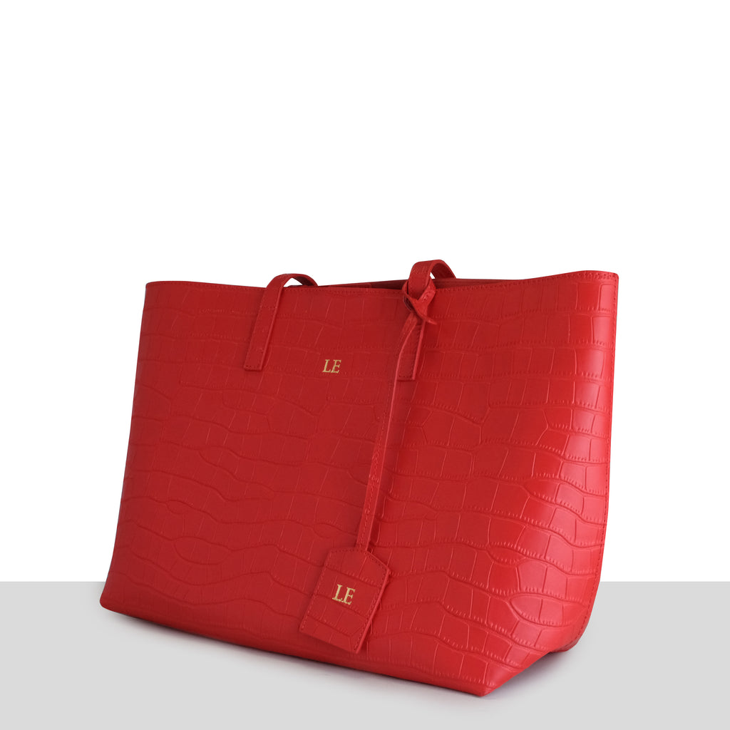 Stockholm Tote in Red Croc