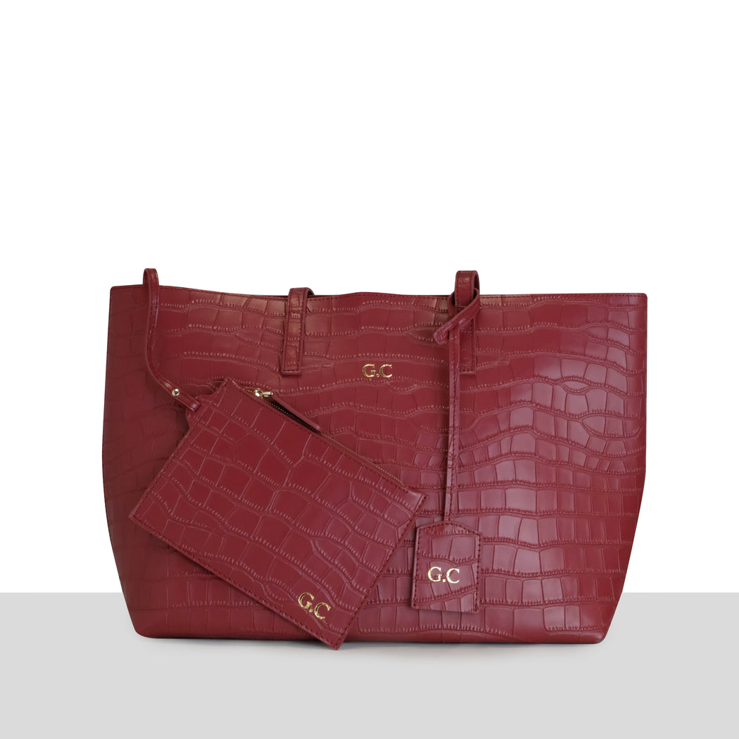 WINE MATTE CROC LARGE TOTE BAG
