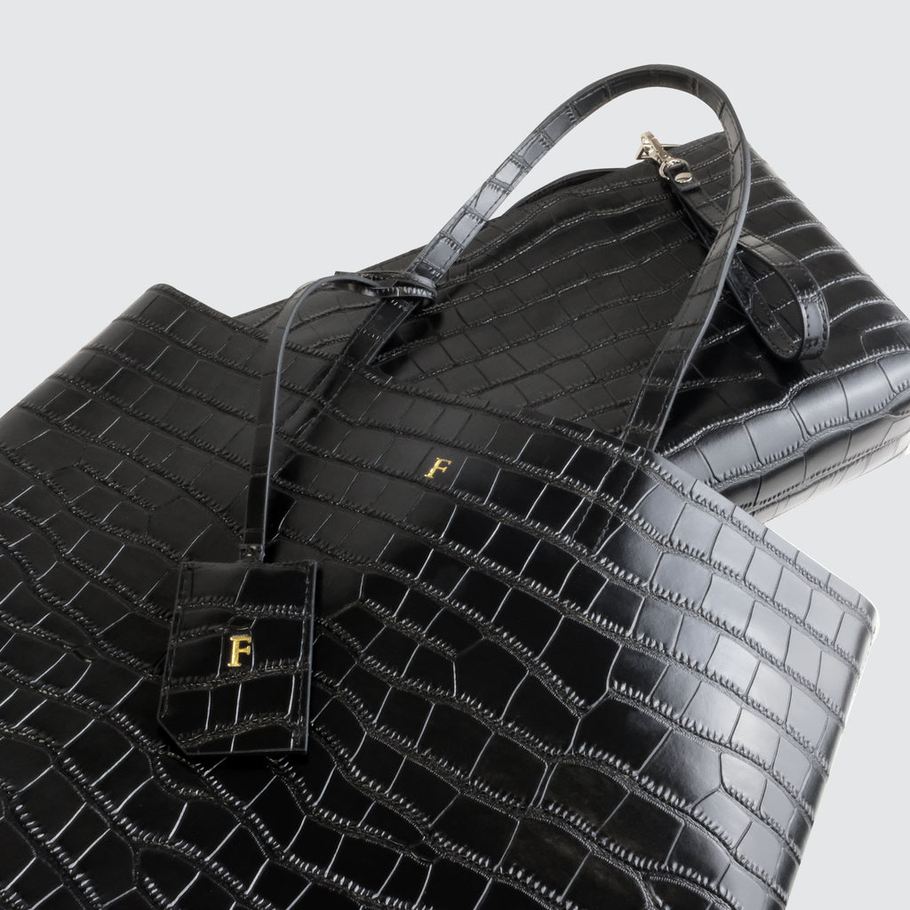 Black Croc Tall Tote Bag with Large Pouch