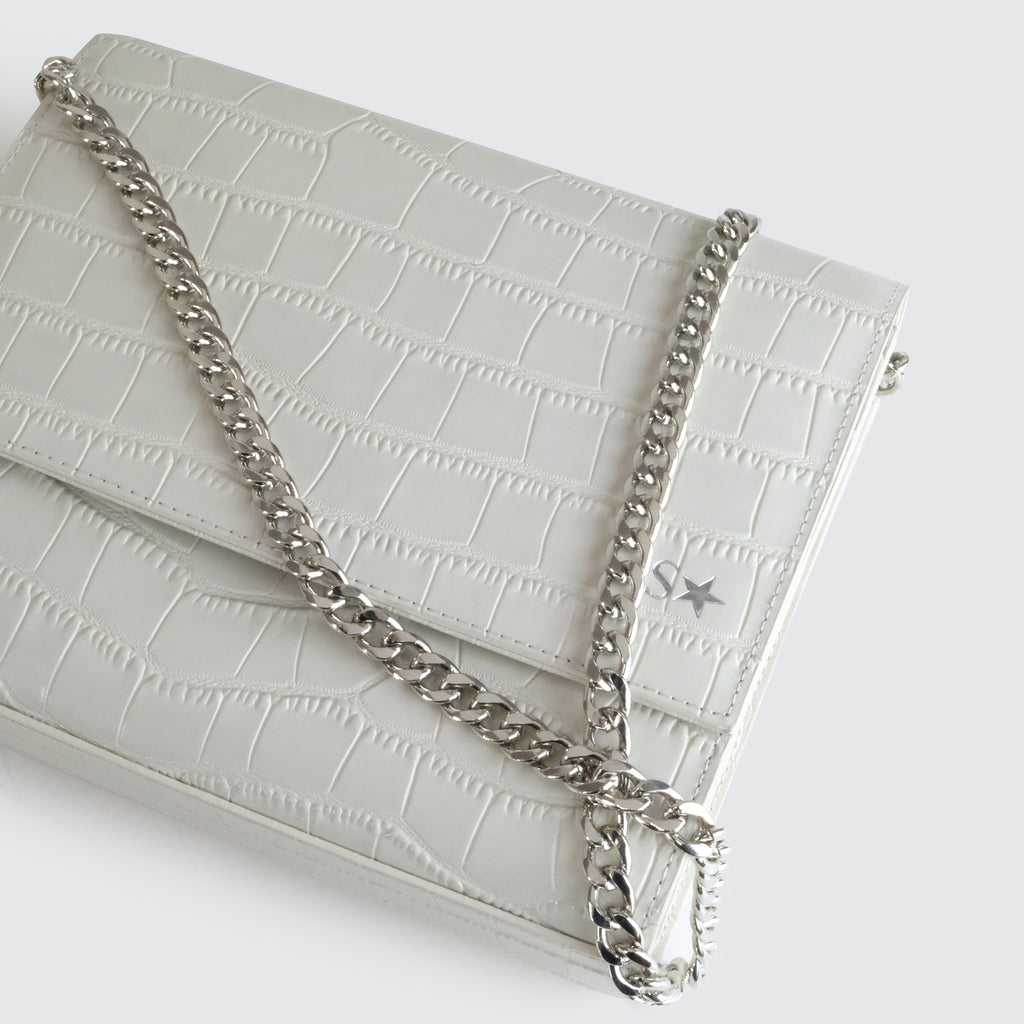 Cream Croc Chain Multi-way Bumbag