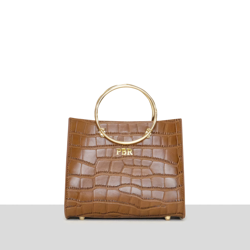 Tan Croc Ring Bag