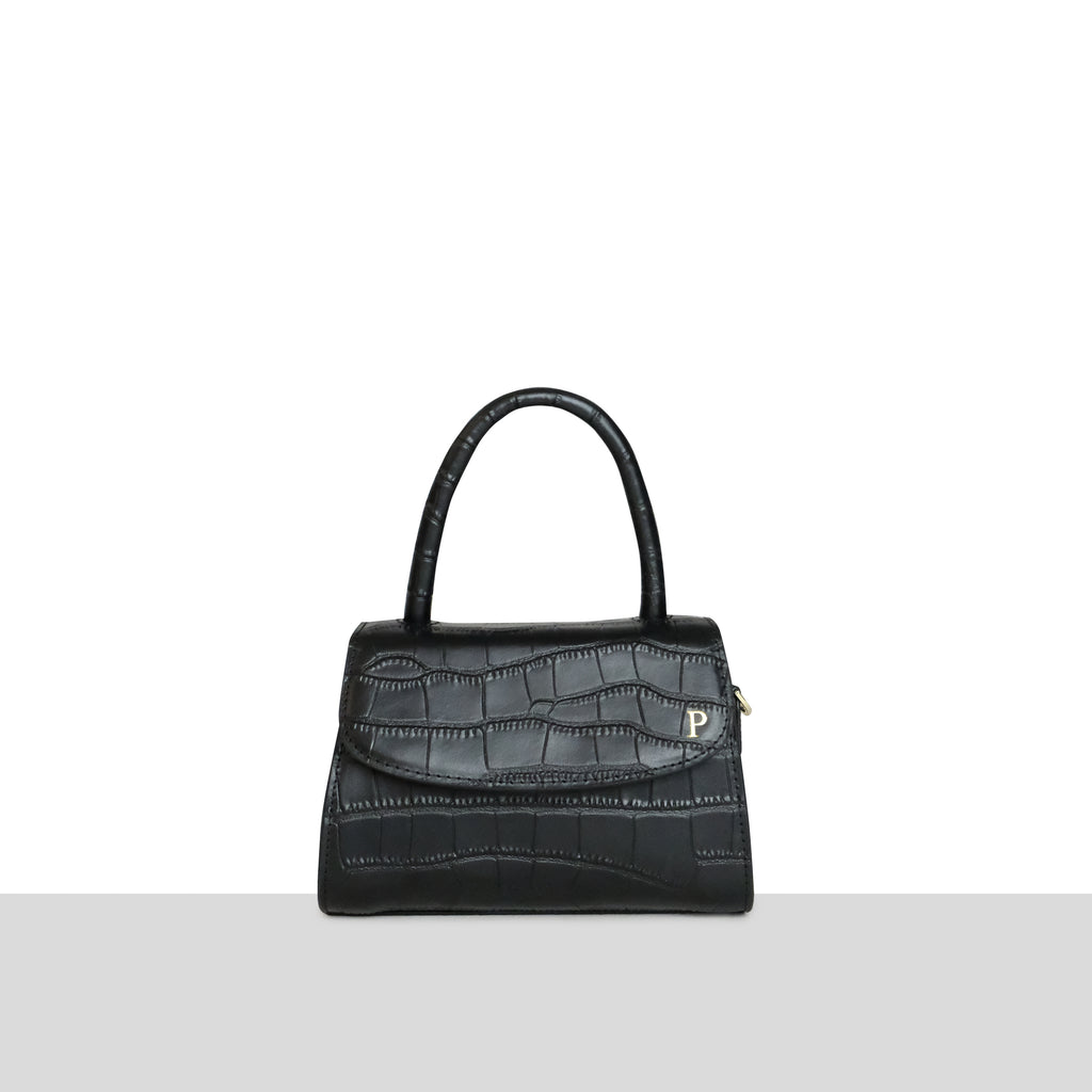 Black Croc Cross Body Grab Bag