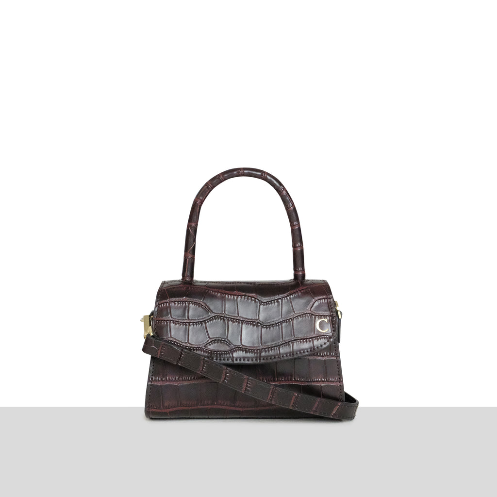 Chocolate Croc Cross Body Grab Bag