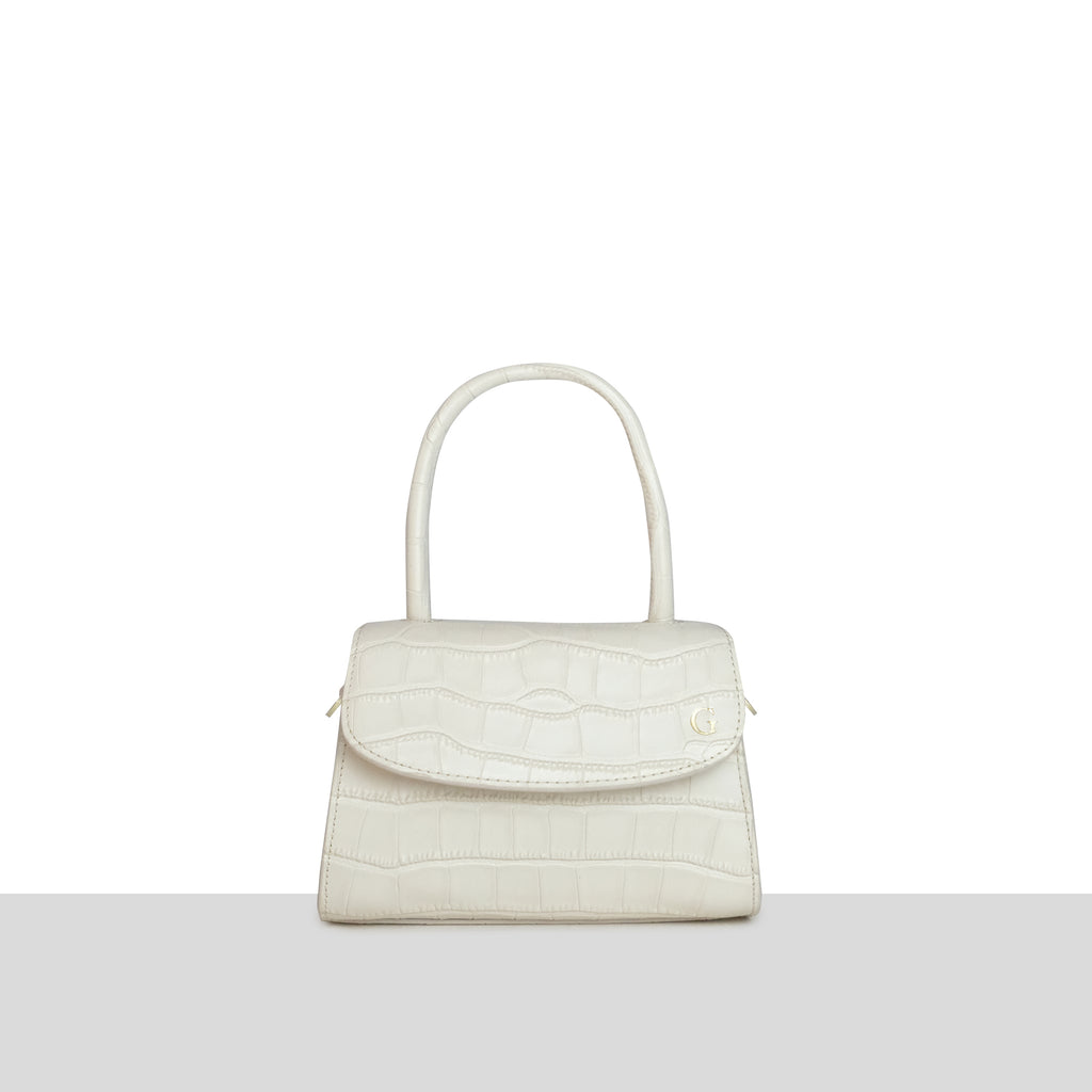 Cream Croc Cross Body Grab Bag