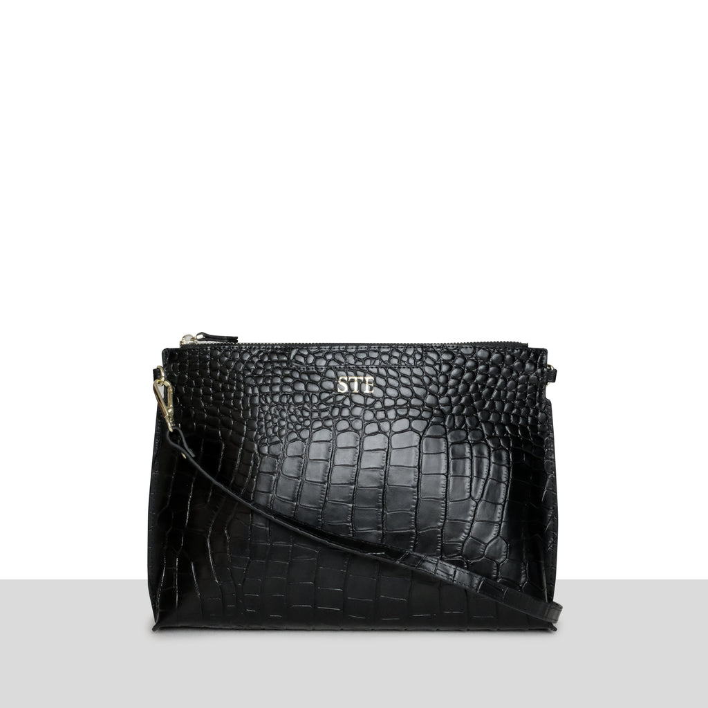 Palermo Clutch in Black Croc