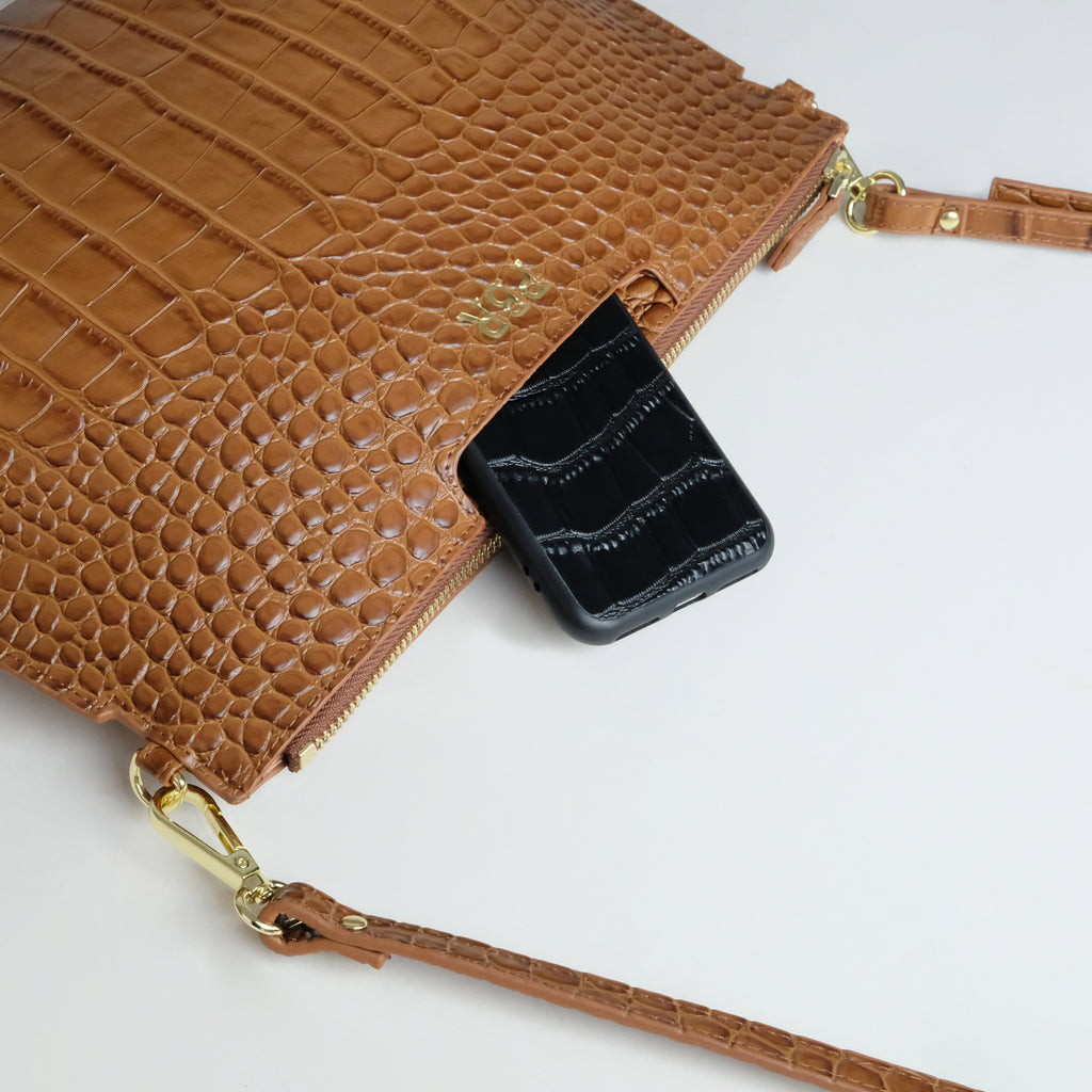 Tan Croc Multi-Way Clutch