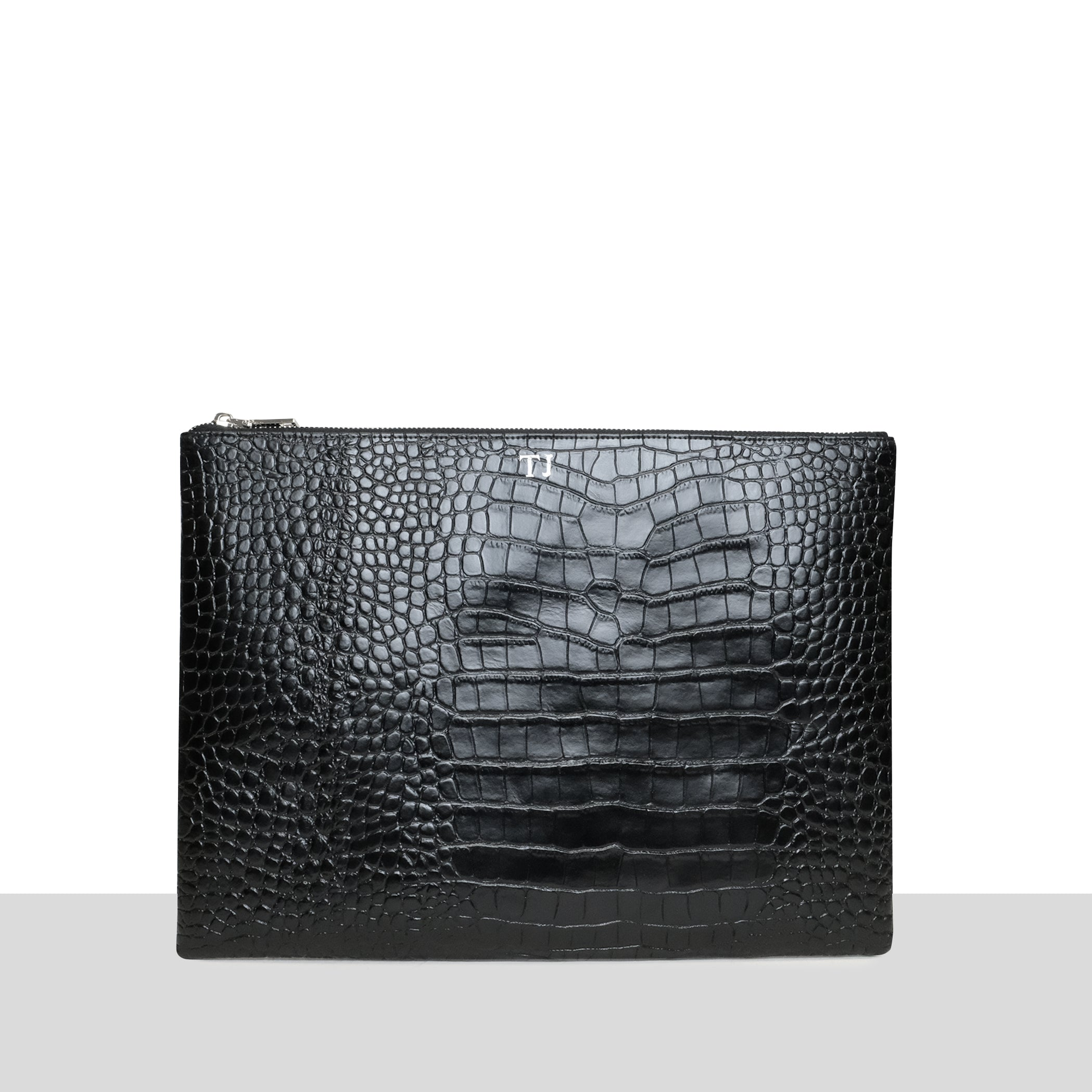 Azurina Personalised Black Croc Laptop Pouch