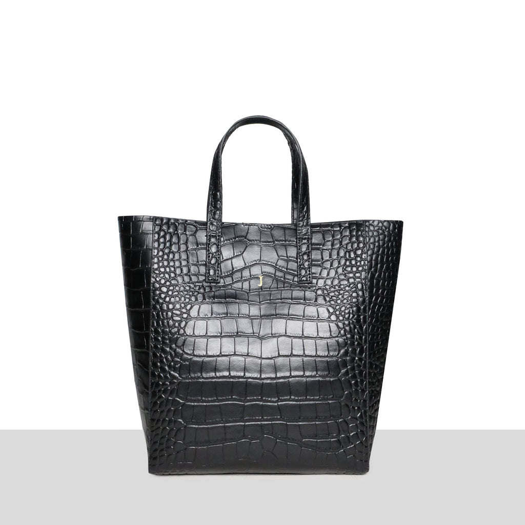 Black Croc Cross Body Shopper