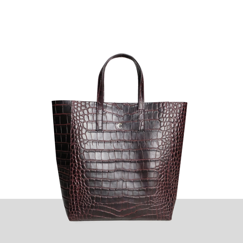 Chocolate Croc Cross Body Shopper