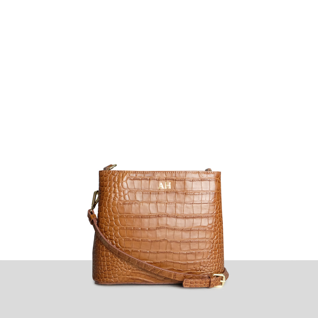 Singapore Bag in Tan Croc