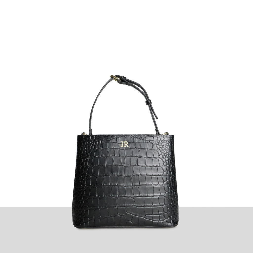 Black Croc Grown Up Cross Body Bag