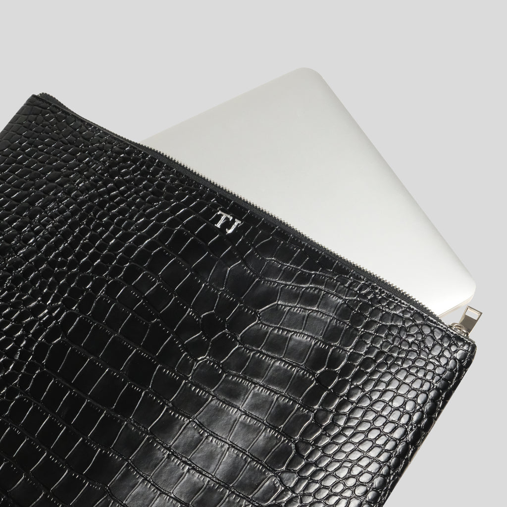 Black Croc Laptop Pouch