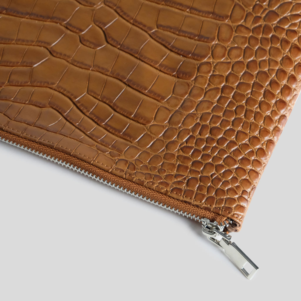 Tan Croc Laptop Pouch