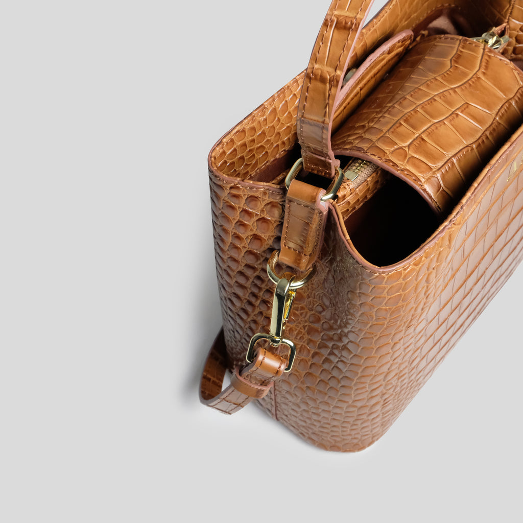 Tan Croc Grown Up Cross Body Bag