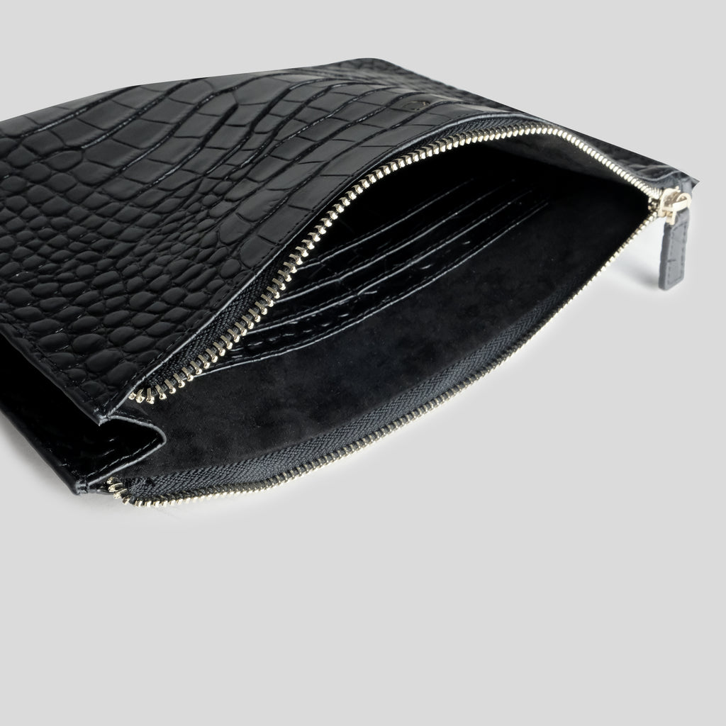 Black Croc Travel Pouch