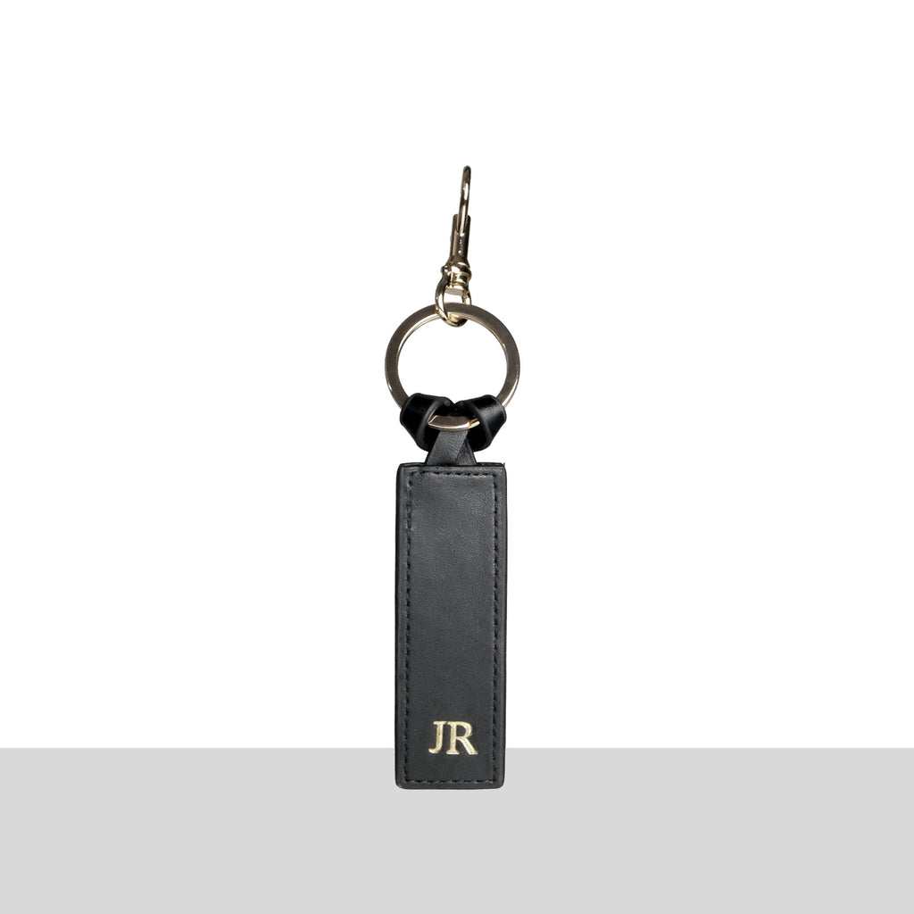 Black Smooth Gold Keychain